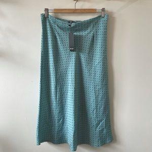 Nasty Gal Blue Polka Dot Bias Cut Midi Skirt